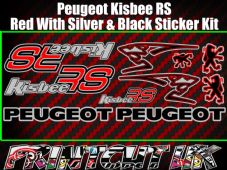 Peugeot Kisbee RS Decals/Stickers Red Silver Black Multicolour